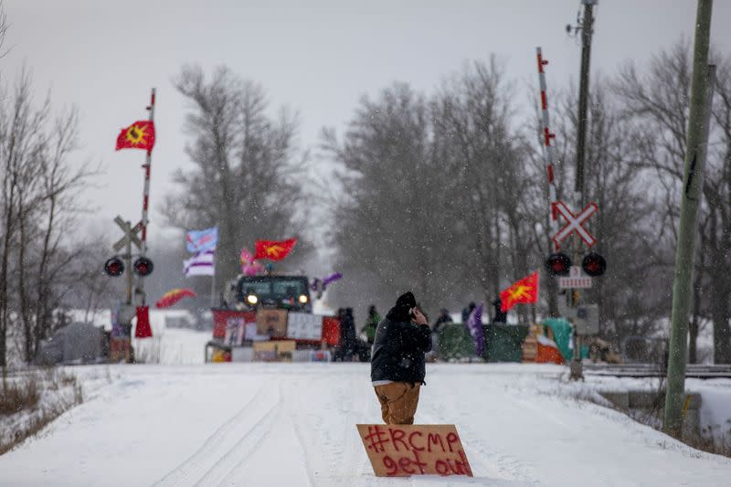 FILE PHOTO: Canada's Indigenous Services Minister Marc Miller meets with representatives of the Mohawk Nation at the site of a rail stoppage