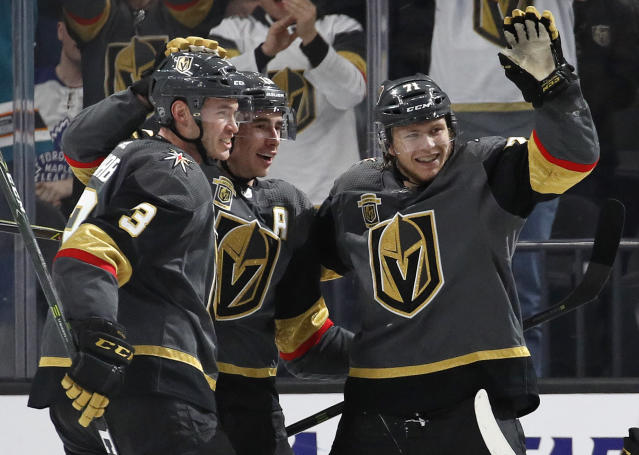 Karlsson's first career hat trick capped off an incredible 2017 for the Golden Knights. (AP Photo/John Locher)