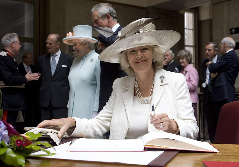 <p>In 2007, Camilla brought her wedding dress back out when she visited Cardiff with her husband and in-laws. (Pool/Anwar Hussein Collection)</p>