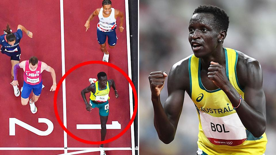 Pictured here, Australia's Peter Bol reacts after setting a new Oceania record in the 800m at the Olympics.