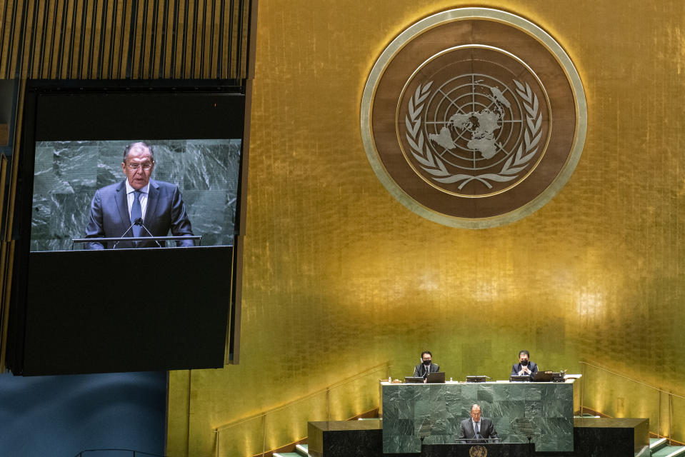 Russia's Foreign Minister Sergei Lavrov addresses the 76th Session of the U.N. General Assembly at United Nations headquarters in New York, on Saturday, Sept. 25, 2021. (Eduardo Munoz /Pool Photo via AP)