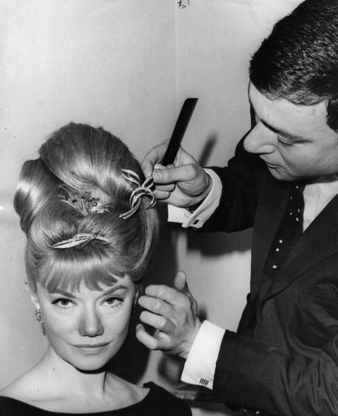 <p>South African opera singer Denny Dayviss was styled by the famous London hairdresser Vidal Sassoon. In 1963, Sassoon piles her hair into a high updo with Gerrard diamond hair accessories for a charity performance. </p>