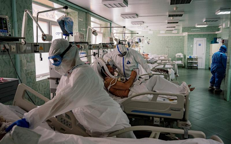 The coronavirus crisis has left provincial Russian hospitals particularly vulnerable compared to better-funded facilities in Moscow, pictured here - Dimitar Dilkoff/AFP