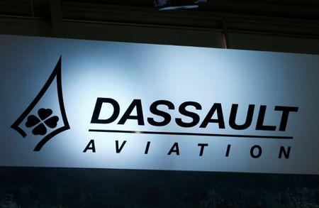 A logo of Dassault Aviation is pictured on their booth during EBACE in Geneva