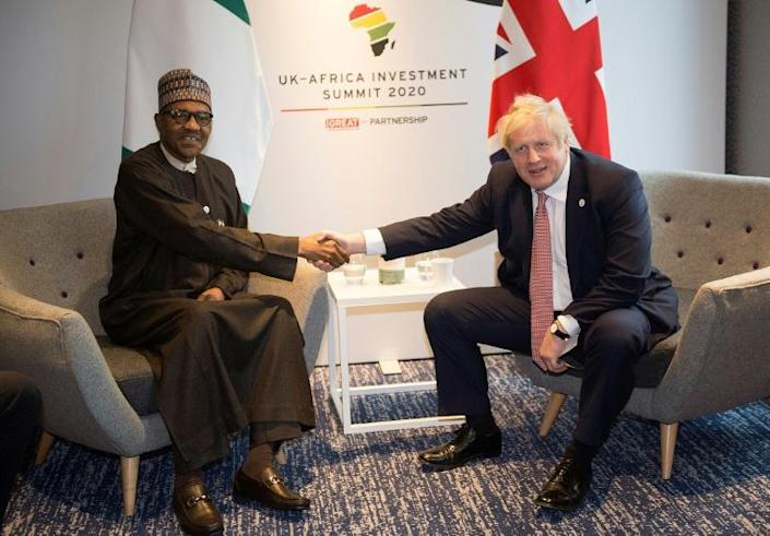 Nigerian President Muhammadu Buhari said Brexit offered an opportunity for increased free trade across the Commonwealth -- and highlighted visas as a key issue (AFP Photo/Eddie MULHOLLAND)