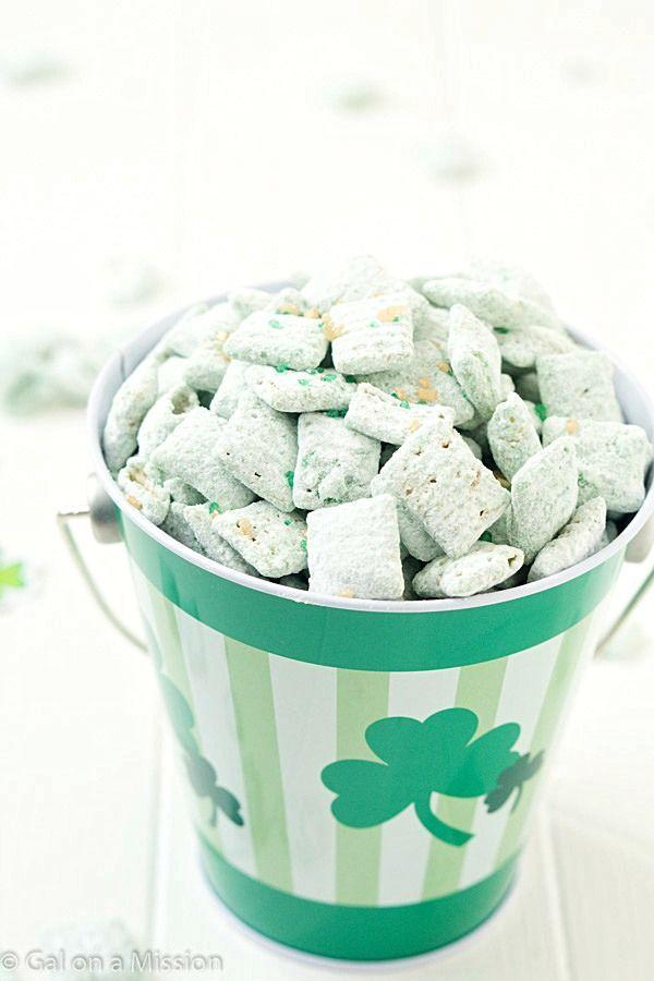 """<p>Your favorite guilty pleasure goes green (and minty) for the holiday. Like this stuff could get any more addicting ...</p><p><em><a href=""""http://www.galonamission.com/st-patricks-day-puppy-chow/"""" rel=""""nofollow noopener"""" target=""""_blank"""" data-ylk=""""slk:Get the recipe from Gal on a Mission »"""" class=""""link rapid-noclick-resp"""">Get the recipe from Gal on a Mission »</a></em> </p>"""