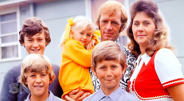 Paul with his first wife, Noelene, and their five children. He had another son to Linda in 1999.