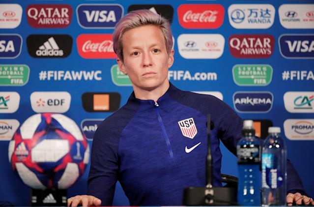 Megan Rapinoe met with the media on Thursday, and she did not back down from her thoughts on President Donald Trump or a potential White House visit. (Reuters)
