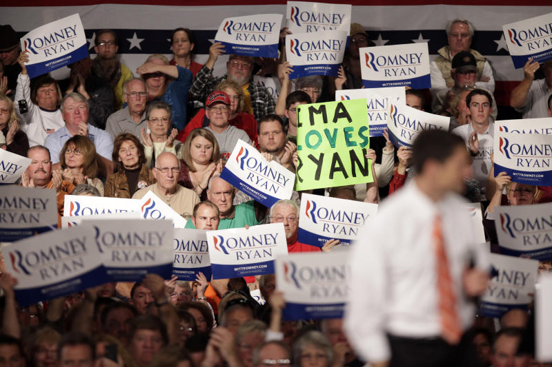 Supporters cheer for Republican vice presidential candidate, Rep. Paul†Ryan, R-Wis., Monday, Sept. 24, 2012, at the Veterans Memorial Civic & Convention Center in Lima, Ohio. (AP Photo/J.D. Pooley)