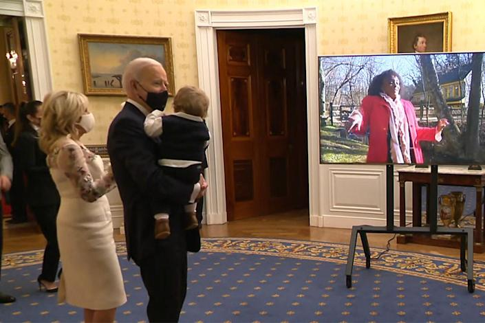 <p>President Biden, who is seen holding his grandson Beau (named after his late son), First Lady Dr. Jill Biden and other members of the family were seen dancing along inside the White House and then applauding loudly at the end of the performance, which then segued into the fireworks-filled closing number.</p>