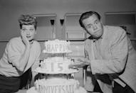 <p>Despite a busy rehearsal schedule for <em>I Love Lucy</em>, Lucille and Desi were surprised by their cast and crew with a cake to celebrate their 15th wedding anniversary.  </p>
