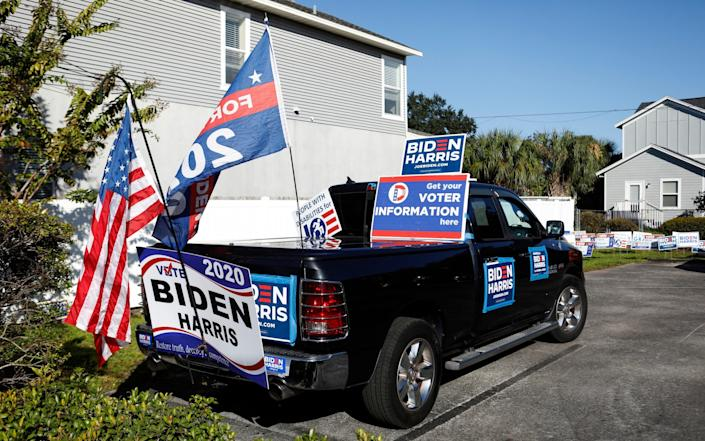 A truck decorated in support of Democratic presidential nominee Joe Biden in Tampa, Florida - Getty Images North America