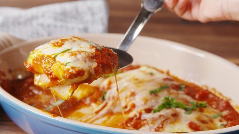 """<p>There's no meat in this ravioli, so the dairy is totally fine. </p><p>Get the recipe from <a href=""""https://www.delish.com/cooking/recipe-ideas/recipes/a48392/zucchini-ravioli-recipe/"""" rel=""""nofollow noopener"""" target=""""_blank"""" data-ylk=""""slk:Delish"""" class=""""link rapid-noclick-resp"""">Delish</a>.</p>"""