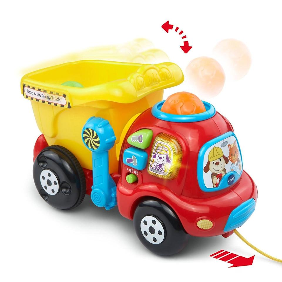 <p>This <span>VTech Drop and Go Dump Truck</span> ($14) is intended to help children learn their numbers, but is fun for small babies too!</p>