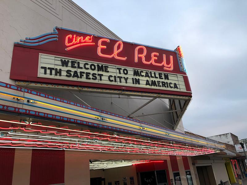 As President Donald Trump prepares to visit this Texas border town, the marquee at the Cine El Rey, a 1940s-era theater-turned-music-venue, touts the fact that McAllen is ranked as one of the safest cities in the country.