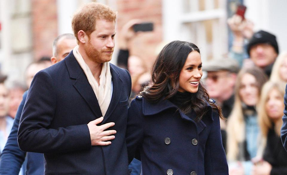 Prince Harry and Meghan Markle arrived in Nottingham for their first official work outing [Photo: Rex]