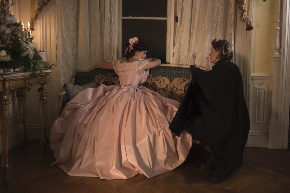 Emma Watson and Greta Gerwig on the set of 'Little Women' (Photo: Wilson Webb/Sony Pictures)