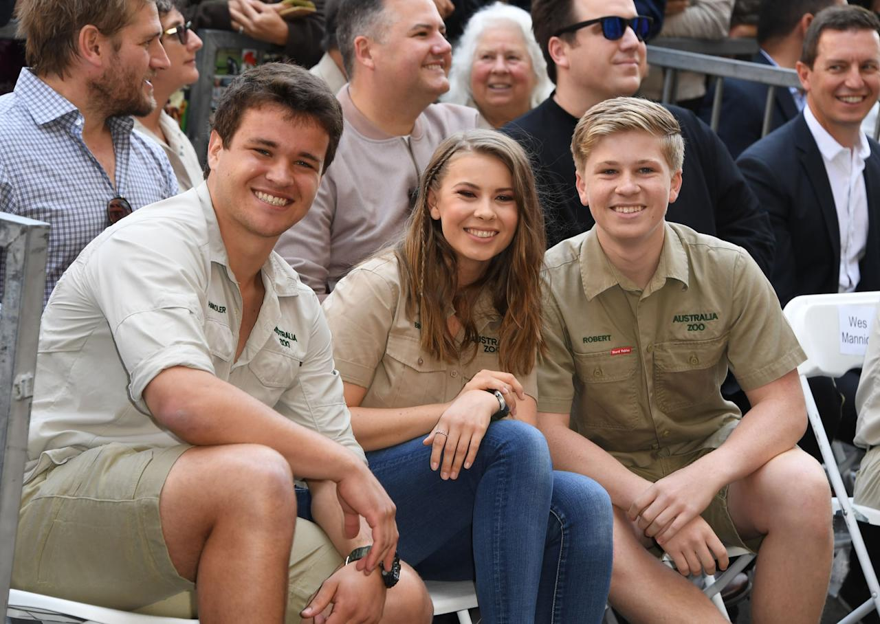 "<p>Bindi expressed that she really wants her younger brother, <a href=""http://www.etonline.com/bindi-irwin-reveals-how-she-plans-to-honor-late-dad-steve-irwin-in-her-wedding-to-chandler-powell"" target=""_blank"" class=""ga-track"" data-ga-category=""Related"" data-ga-label=""http://www.etonline.com/bindi-irwin-reveals-how-she-plans-to-honor-late-dad-steve-irwin-in-her-wedding-to-chandler-powell"" data-ga-action=""In-Line Links"">Robert, to walk her down the aisle</a> on her <a class=""sugar-inline-link ga-track"" title=""Latest photos and news for wedding"" href=""https://www.popsugar.com/Wedding"" target=""_blank"" data-ga-category=""Related"" data-ga-label=""https://www.popsugar.com/Wedding"" data-ga-action=""&lt;-related-&gt; Links"">wedding</a> day. ""I'm always so grateful that Robert is there, and he has been such a big part of my life and he's always stepped up and been the one to give me a hug when I need it and encourage me forward in life,"" Bindi told <strong>ET</strong>. ""So he will definitely be the one to walk me down the aisle when the time comes, and I think that will make it really special. And I think that's what dad would have wanted as well."" </p>"
