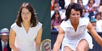"""<p>Stone portrayed legendary tennis star Billie Jean King in the movie <em>Battle of the Sexes. </em>""""Playing Billie Jean was a bit of a game changer,"""" she <a href=""""http://www.marieclaire.com/celebrity/a28644/emma-stone-september-2017-cover/"""" rel=""""nofollow noopener"""" target=""""_blank"""" data-ylk=""""slk:told"""" class=""""link rapid-noclick-resp"""">told</a> <em>Marie Claire</em>. She also gained <a href=""""http://www.hollywoodreporter.com/news/oscars-why-emma-stone-gained-15-pounds-la-la-land-972564"""" rel=""""nofollow noopener"""" target=""""_blank"""" data-ylk=""""slk:15 pounds of muscle"""" class=""""link rapid-noclick-resp"""">15 pounds of muscle</a> for the role. Fifteen. Pounds. </p>"""