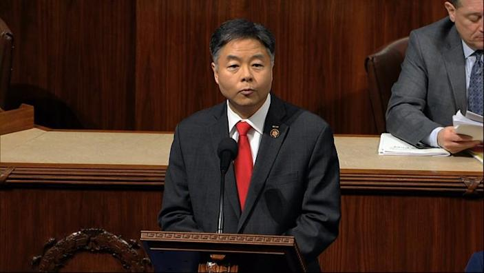 Rep. Ted Lieu, D-Calif., speaks as the House of Representatives debates the articles of impeachment against President Donald Trump at the Capitol in Washington, Wednesday, Dec. 18, 2019. (House Television via AP)