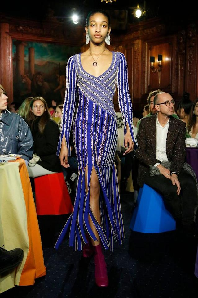 <p>A model wears a blue fringe dress at the Peter Pilotto FW18 show. (Photo: Getty) </p>