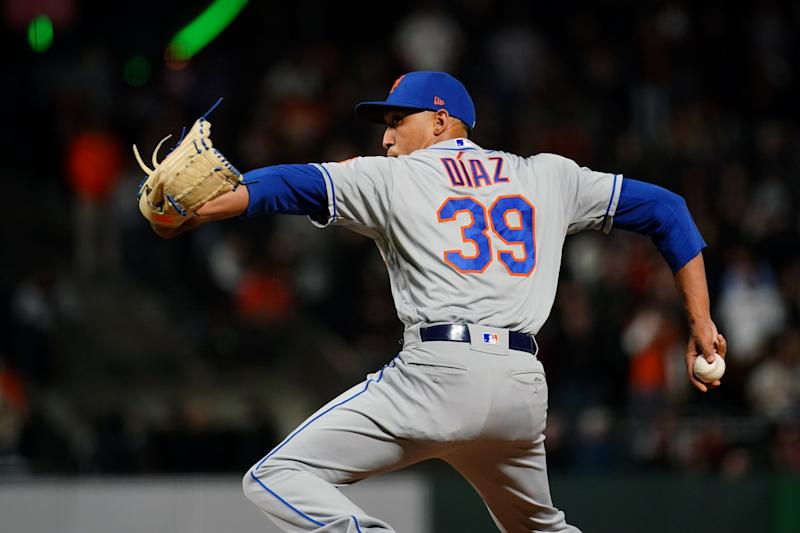 SAN FRANCISCO, CA - JULY 18: Edwin Diaz #39 of the New York Mets pitches against the San Francisco Giants at Oracle Park on Thursday, July 18, 2019 in San Francisco, California. (Photo by Daniel Shirey/MLB Photos via Getty Images)
