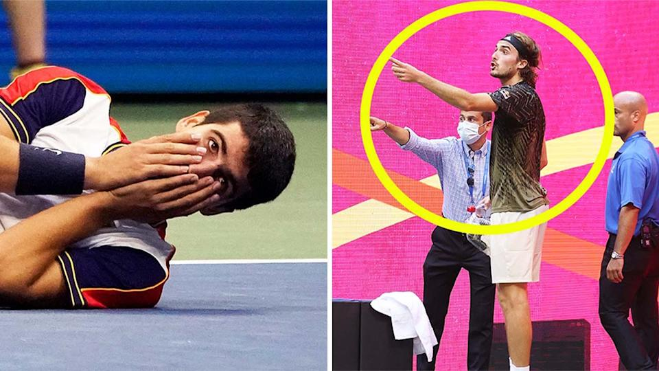 Stefanos Tsistipas (pictured right) arguing with the chair umpire at the US Open and Carlos Alcaraz (pictured left) collapsing to the ground in celebration.