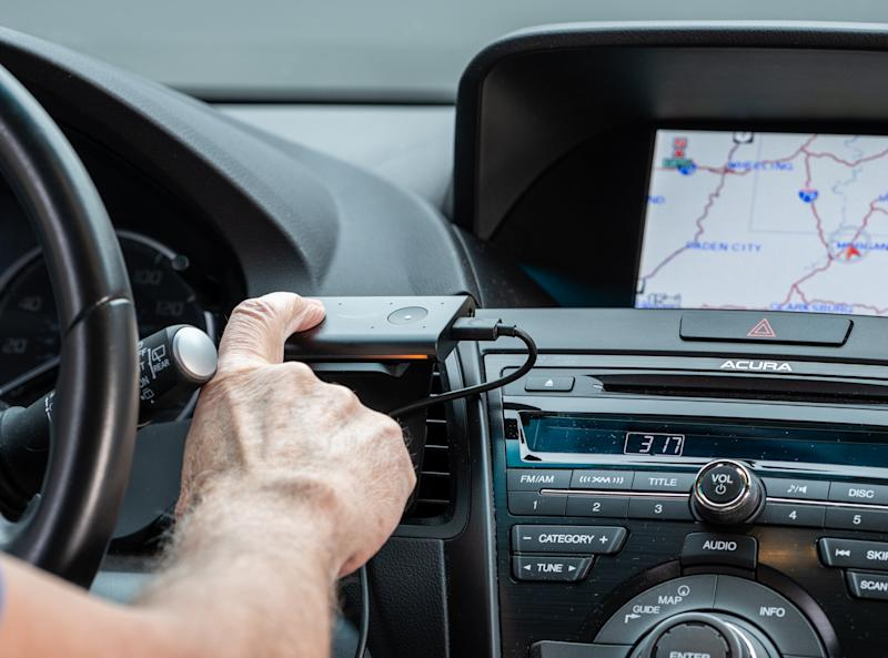 Morgantown, WV - 2 January 2020: Amazon Echo Auto smart voice operated device installed in a car to provide Alexa services