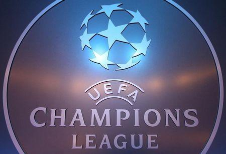 FILE PHOTO:  The UEFA logo is seen before the draw ceremony for the 2016/2017 Champions League Cup soccer competition at Monaco's Grimaldi Forum in Monaco