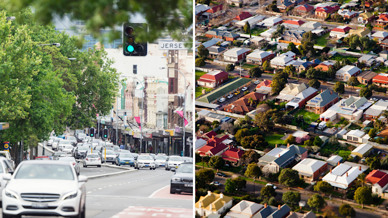Pictured: Oxford Street in Paddington, Sydney. Houses in Melbourne. Images: Getty