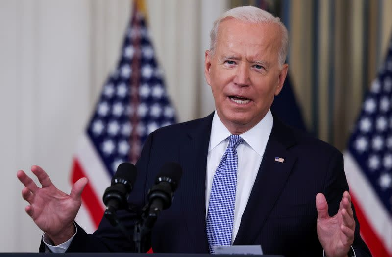 FILE PHOTO: U.S. President Joe Biden speaks about COVID-19 vaccines at the White House in Washington