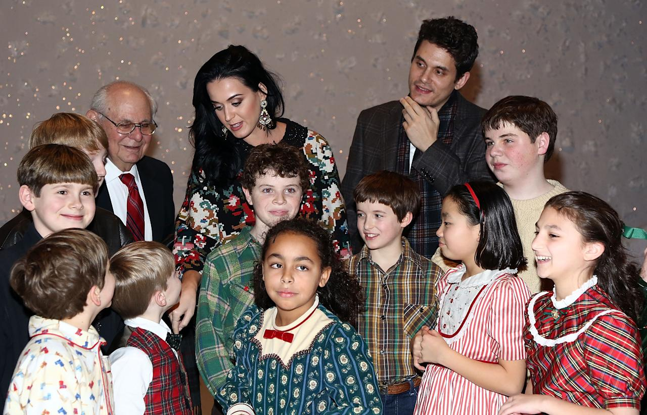 "NEW YORK, NY - DECEMBER 12:  (L-R)  Richard Mayer, Katy Perry and John Mayer pose for photos with cast members from ""A Christmas Story, The Musical"" Broadway Performance at Lunt-Fontanne Theatre on December 12, 2012 in New York City.  (Photo by Astrid Stawiarz/Getty Images)"