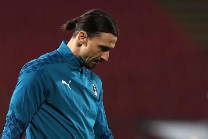 AC Milan's Zlatan Ibrahimovic looks on during warm up before the Europa League.