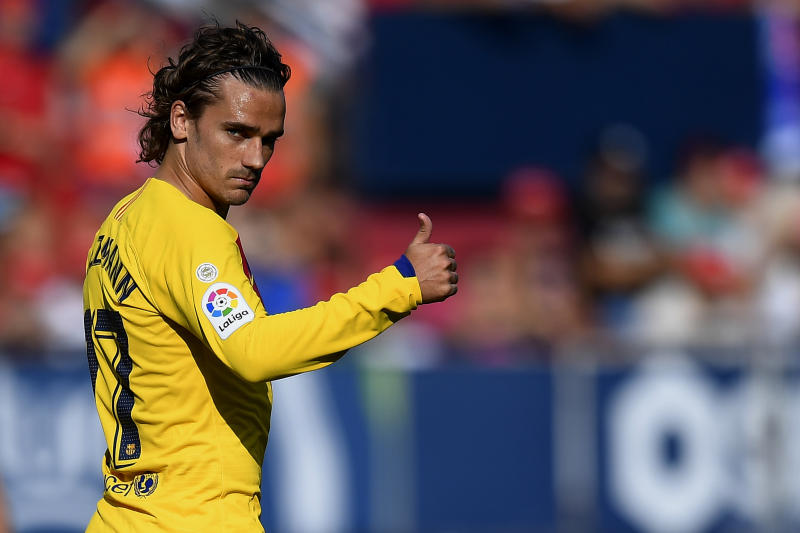 Antoine Griezmann of Barcelona reacts during the Liga match between CA Osasuna and FC Barcelona at on August 31, 2019 in Pamplona, Spain. (Photo by Jose Breton/Pics Action/NurPhoto via Getty Images)