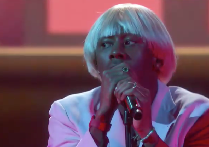 Tyler, the Creator performs at the Grammys: CBS/screengrab