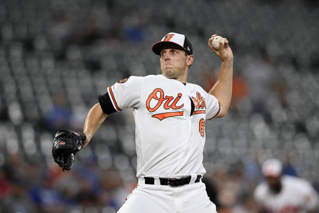 Baltimore Orioles starting pitcher John Means delivers a pitch during the first inning of the team's baseball game against the Los Angeles Dodgers, Wednesday, Sept. 11, 2019, in Baltimore. (AP Photo/Nick Wass)