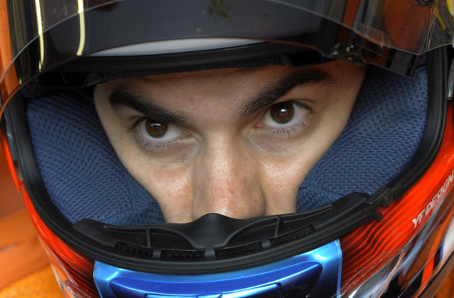 Repsol Honda team's Spanish rider Dani Pedrosa leaves the pits during the Moto GP free practice 3 of the Portuguese Grand Prix in Estoril, outskirts of Lisbon on May 5, 2012. AFP PHOTO / MIGUEL RIOPAMIGUEL RIOPA/AFP/GettyImages