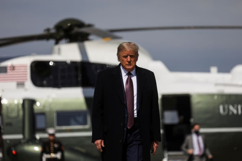U.S. President Trump departs Washington on campaign travel to New Jersey at Joint Base Andrews in Maryland