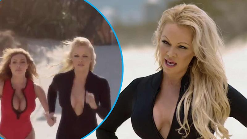 View Pamela Anderson recreate her iconic Baywatch run in new advertisement