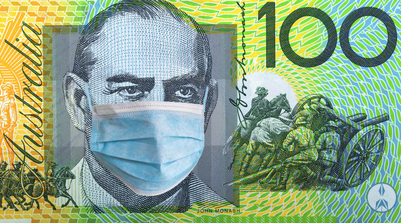 Coronavirus Covid-19. Australia quarantine, 100 dollar banknote with medical mask. The concept of epidemic and protection against coronavrius.