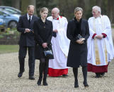 Britain's Prince Edward, Sophie Countess of Wessex and their daughter Lady Louise Windsor, attend the Sunday service at the Royal Chapel of All Saints at Royal Lodge, Windsor, following the announcement of Prince Philip, in England, Sunday, April 11, 2021. Britain's Prince Philip, the irascible and tough-minded husband of Queen Elizabeth II who spent more than seven decades supporting his wife in a role that mostly defined his life, died on Friday. (Steve Parsons/Pool Photo via AP)