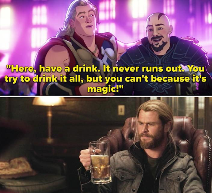 """Thor saying, """"Here, have a drink. It never runs out. You try to drink it all, but you can't because it's magic"""""""