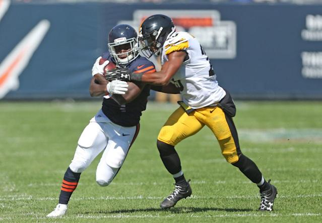 Sep 24, 2017; Chicago, IL, USA; Chicago Bears running back Tarik Cohen (29) runs with the ball while Pittsburgh Steelers free safety Mike Mitchell (23) defends during the first half at Soldier Field. Mandatory Credit: Dennis Wierzbicki-USA TODAY Sports