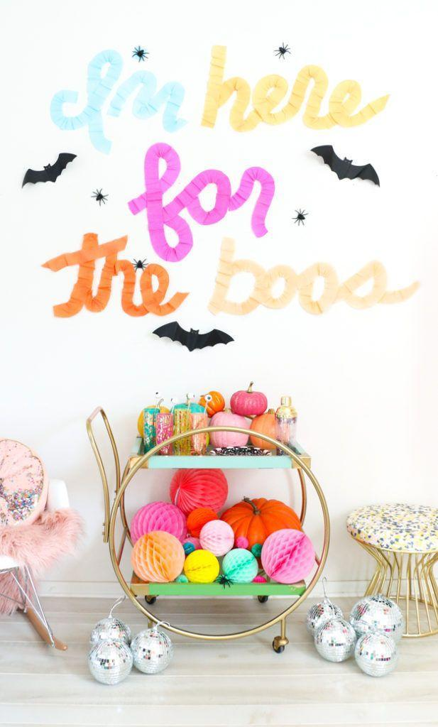 """<p>Forget teeny-tiny letter boards. Share your Halloween message in a big (and photo-friendly) way by writing it out with crepe paper. </p><p><em><a href=""""https://akailochiclife.com/2017/10/say-it-with-crepe-paper-ruffled.html"""" rel=""""nofollow noopener"""" target=""""_blank"""" data-ylk=""""slk:Get the tutorial at A Kailo Chic Life »"""" class=""""link rapid-noclick-resp"""">Get the tutorial at A Kailo Chic Life »</a></em> </p>"""
