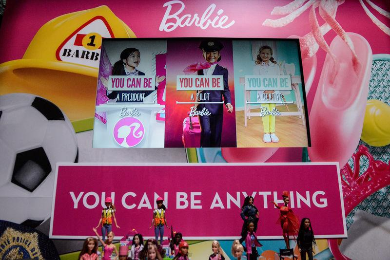 Mattel's Barbie doll is seen on display at the 114th North American International Toy Fair in New York City
