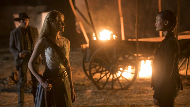 Evan Rachel Wood plays Dolores and Thandie Newton plays Maeve in 'Westworld'. (PHOTO: HBO)