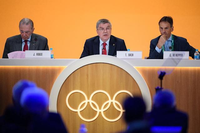 International Olympic Committee (IOC) president Thomas Bach (C) called for wide-ranging reforms of the World Anti-Doping Agency on August 2, 2016 (AFP Photo/Fabrice Coffrini)