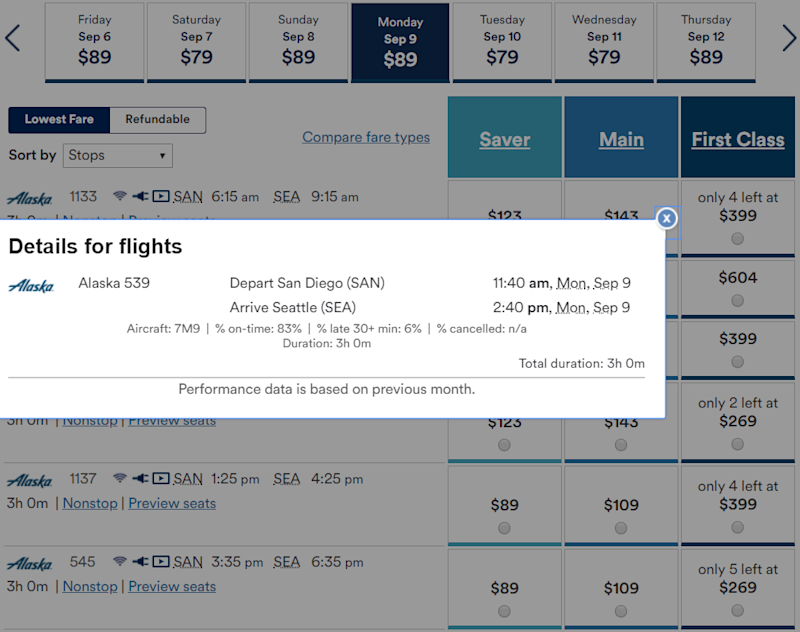 "Alaska Airlines lists the aircraft type when you click on ""nonstop'' or ""one stop.'' The Max is listed as 7M9"