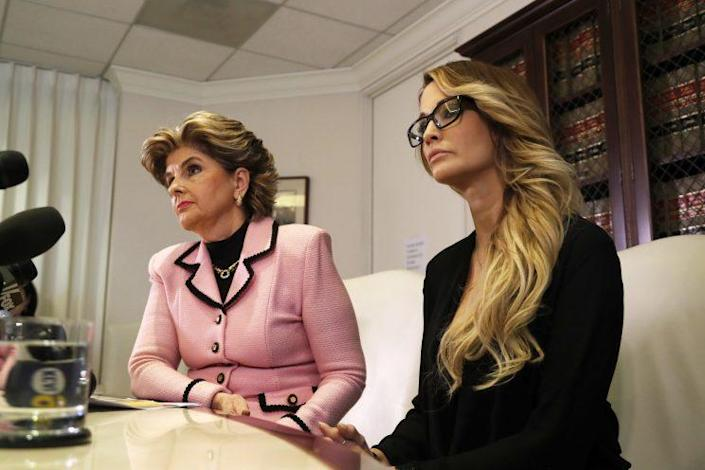 Attorney Gloria Allred, left, and Jessica Drake, who alleges GOP presidential candidate Donald Trump 2016, speak(s) to reporters in Los Angeles Saturday, Oct. 22, 2016. Adult-film actress Drake alleged Trump sexually assaulted her at a golf tournament in Lake Tahoe, Calif. in 2006. Trump on Saturday pledged postelection lawsuits against every woman who has accused him of sexual assault or other inappropriate behavior. (Photo: Ryan Kang/AP)