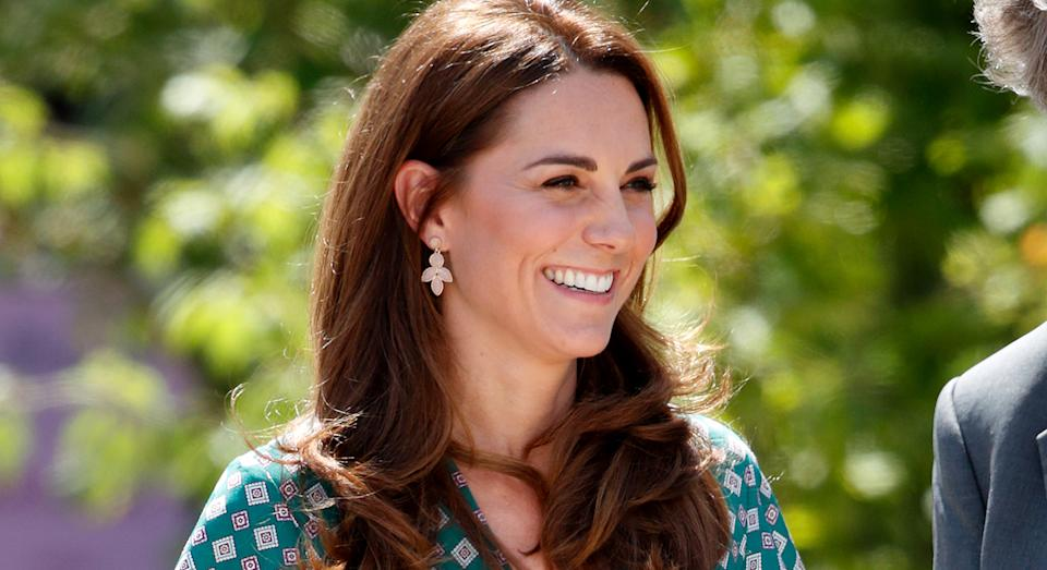 Duchess of Cambridge wore the Accessorize earrings back in 2018 on her visit to her RHS Back to Nature garden. (Getty)